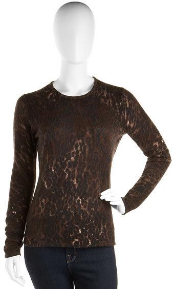 Neiman Marcus Leopard Cashmere Crewneck Sweater