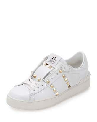 Valentino Rockstud Untitled Leather Sneaker, White $795 thestylecure.com