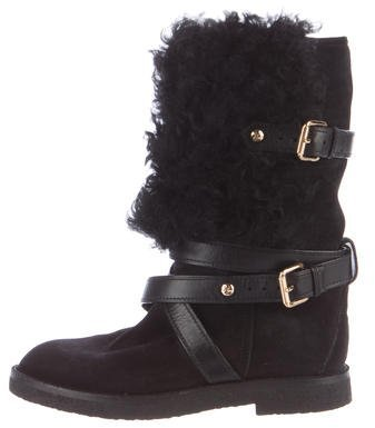 Louis Vuitton Fur-Trimmed Mid-Calf Boots