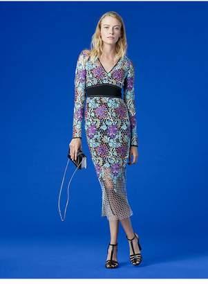 Diane von Furstenberg Long-Sleeve Banded Overlay Lace Dress
