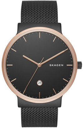 Skagen 'Ancher' Round Mesh Strap Watch, 40mm $185 thestylecure.com