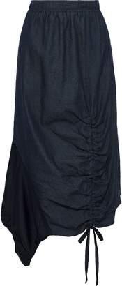 Clu Asymmetric Satin Twill-paneled Ruched Chambray Skirt