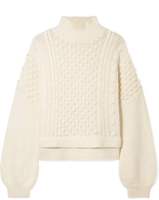 Frame Nubby Wool-blend Turtleneck Sweater - Ivory