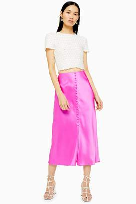 38e9864a835a Topshop Pink Button Through Satin Bias Skirt