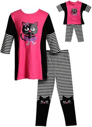 Dollie & Me Girls 4-14 Cat Tunic Top & Leggings Set