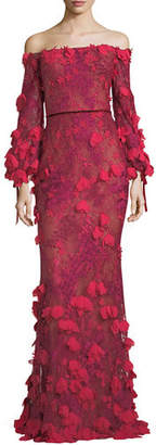 Marchesa Off-the-Shoulder 3D Floral Mermaid Evening Gown