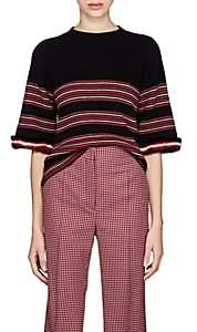 Fendi Women's Fur-Trimmed Striped Rib-Knit Wool-Blend Top - Black