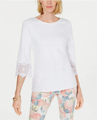 Charter Club Petite Lace-Sleeve Top