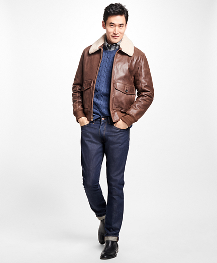 Brooks Brothers  Leather Aviator Jacket