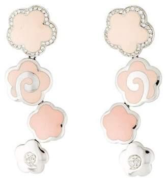 La Nouvelle Bague 18K Diamond & Enamel Flower Drop Earrings white La Nouvelle Bague 18K Diamond & Enamel Flower Drop Earrings