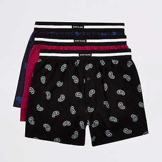 River Island Blue loose fit RI boxers multipack