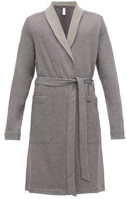 Hanro Neo Reversible Cotton Blend Robe - Mens - Grey Multi