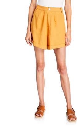 Sancia Besara Linen-Blend Cuffed Shorts
