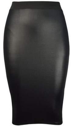 201d928ec03e58 Friendz Trendz -Womens Plus Size Wet Look Faux Leather Pencil Midi Skirt  Brand Na (