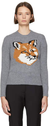 MAISON KITSUNÉ Grey Fox Head Sweater