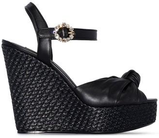 Dolce & Gabbana raffia 90mm wedged sandals