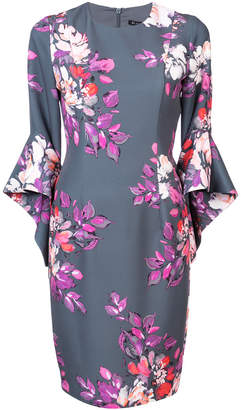 Black Halo flared sleeve floral dress