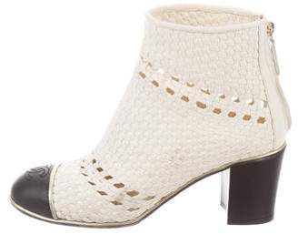 Chanel Woven Cap-Toe Boots