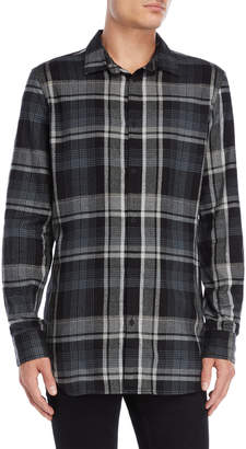 Calvin Klein Jeans Plaid Cotton-Blend Collared Shirt