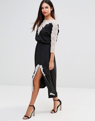 French Connection Isla Lace 3/4 Sleeve Midi Dress $124 thestylecure.com