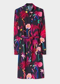 Women's Dark Navy 'Urban Jungle' Print Shirt Dress