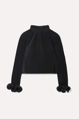 Tibi Cropped Plissé-crepe Top - Black