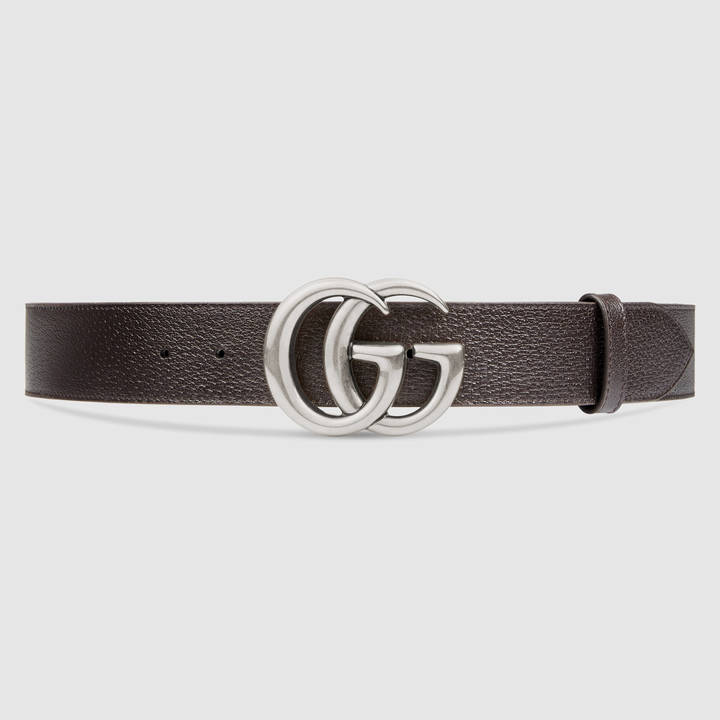 Leather belt with double G buckle 12