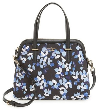 Kate Spade New York 'Cedar Street - Floral Maise' Poplin Canvas Satchel - Black $278 thestylecure.com