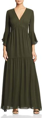 Badgley Mischka Silk Ruffled Maxi Dress