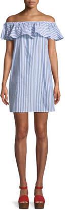 Tommy Bahama Ticking Stripe Off-Shoulder Ruffle Mini Dress