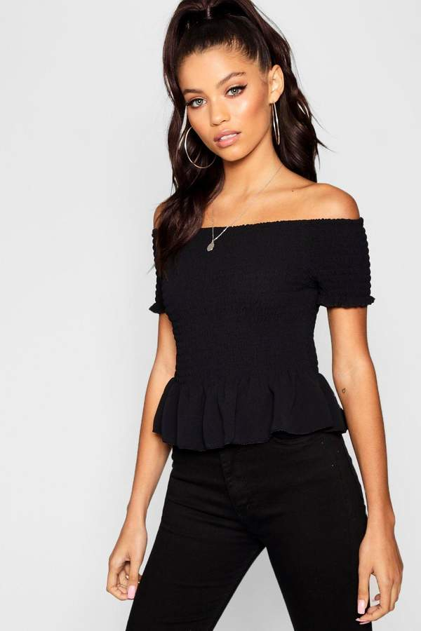 boohoo Shirred Off The Shoulder Crop Top