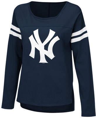 New York Yankees G-iii Sports Women's Free Agent Glitter Long Sleeve T-Shirt