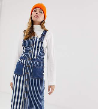 Noisy May Petite stripe denim pinnafore dress