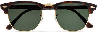 Ray-Ban Clubmaster Tortoiseshell Acetate And Gold-tone Sunglasses - Brown