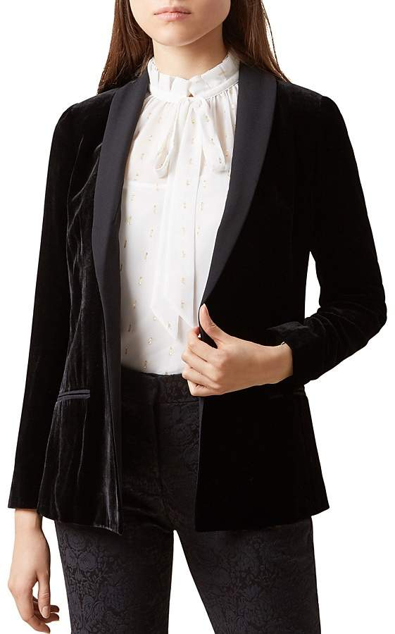 Hobbs London Mila Shawl-Collar Velvet Jacket