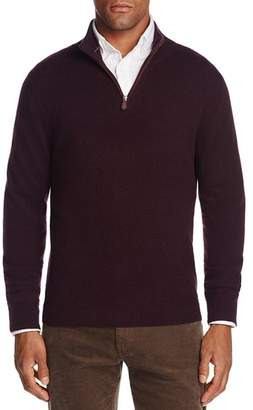 Bloomingdale's The Men's Store at Cashmere Suede Trim Half-Zip Sweater