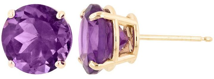 14k Gold Amethyst Stud Earrings