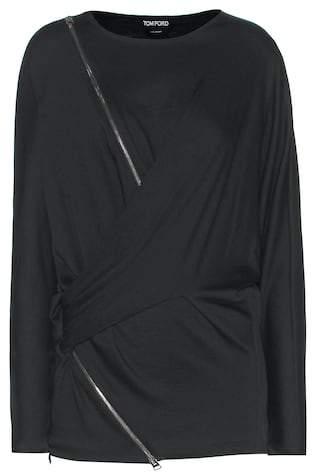 Tom Ford Embellished wool-blend blouse