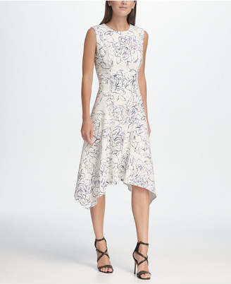 DKNY Floral Handkerchief Hem Dress