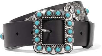 Prada Embellished Leather Belt - Black
