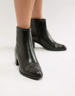 Dune London Queenies Black Leather Studded Kitten heel Ankle Boots