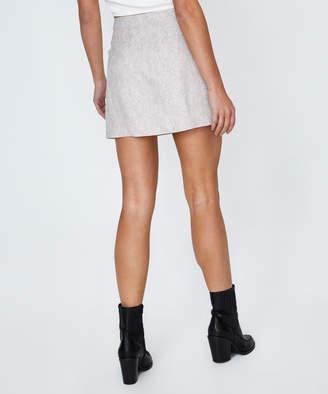 Alice In The Eve Textured Linen Mini Skirt Snake Print