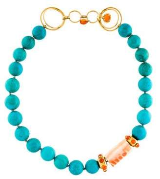 Bounkit Turquoise, Carnelian & Shell Collar Necklace