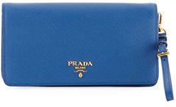 Prada Saffiano Flap Phone Wristlet Wallet w/ Crossbody Strap