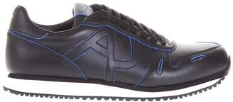 Armani Jeans Leather Sneakers With Contrtasting Stitching