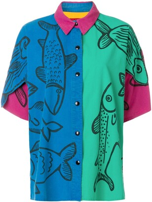 JC de CASTELBAJAC Pre-Owned oversized fish printed shirt