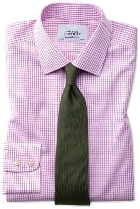 Charles Tyrwhitt Classic Fit Non-Iron Grid Check Pink Cotton Dress Shirt Single Cuff Size 15.5/33