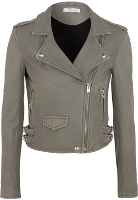 IRO - Ashville Washed-leather Biker Jacket - Gray $1,200 thestylecure.com