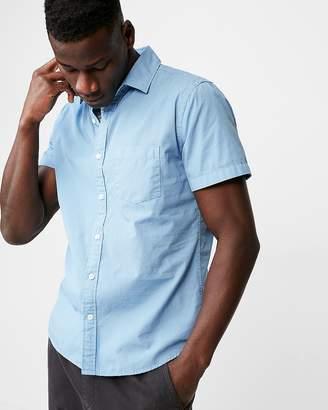 Express Slim Garment Dyed Button-Down Short Sleeve Shirt