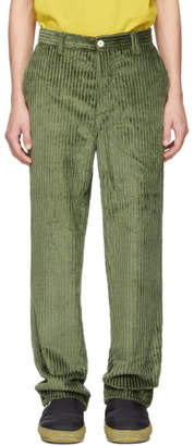 Sunnei Green Corduroy Straight Trousers